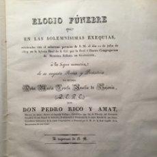 Libros antiguos: ELOGIO FÚNEBRE. REINA MARÍA AMALIA DE SAJONIA. PEDRO RICO AMAT. MADRID 1829. Lote 116664702