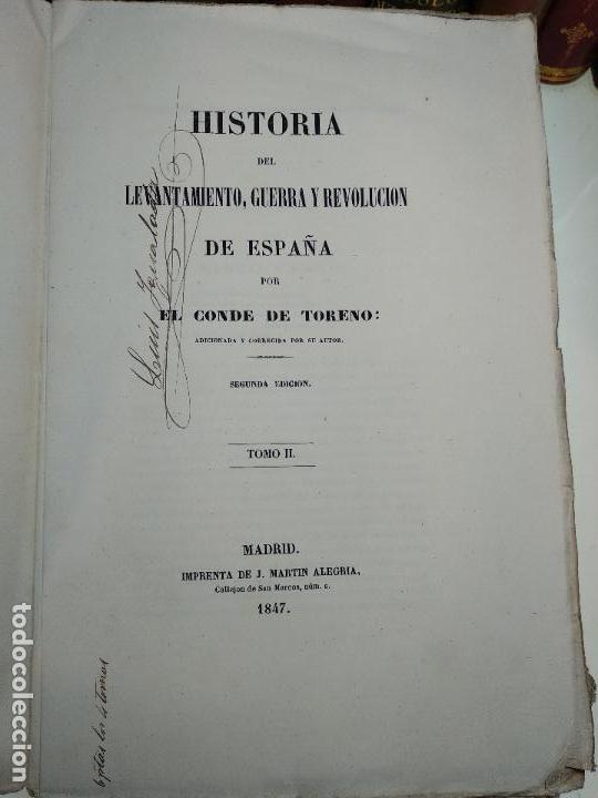Libros antiguos: HISTORIA DEL LEVANTAMIENTO, GUERRA Y REVOLUCIÓN DE ESPAÑA POR EL CONDE TORENO - 4 TOMOS - 1847 - - Foto 10 - 117412967