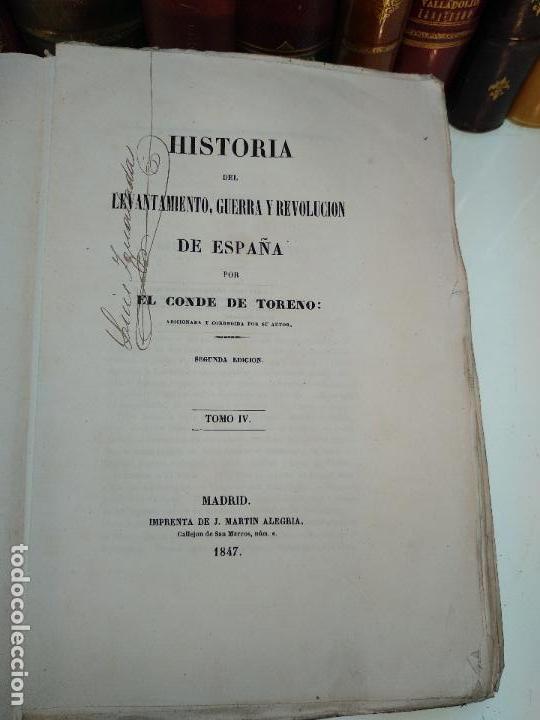 Libros antiguos: HISTORIA DEL LEVANTAMIENTO, GUERRA Y REVOLUCIÓN DE ESPAÑA POR EL CONDE TORENO - 4 TOMOS - 1847 - - Foto 22 - 117412967