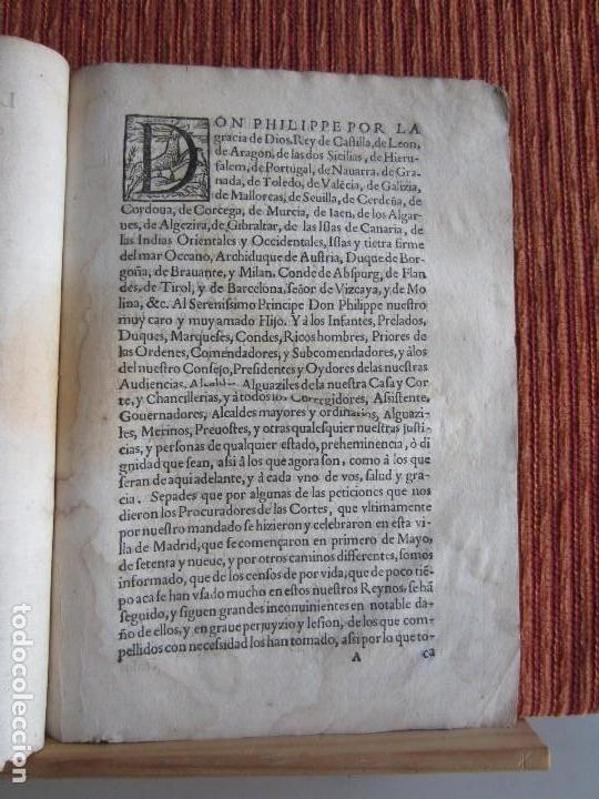 Libros antiguos: 1587-LEY Y PRAGMÁTICA QUE MODERA Y PONE PRECIO JUSTO A LOS CENSOS DE POR VIDA.MADRID.ORIGINAL - Foto 2 - 121464095