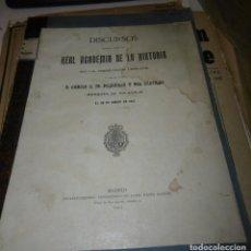Libros antiguos: POLAVIEJA Y DEL CASTILLO, CAMILO: DISCURSOS LEÍDOS ANTE LA REAL ACADEMIA DE LA HISTORIA . Lote 122499091
