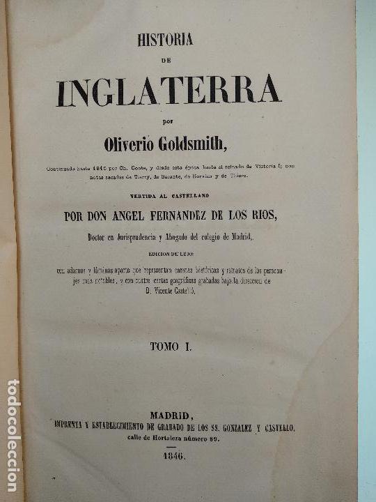 Libros antiguos: HISTORIA DE INGLATERRA POR OLIVERIO GOLDSMITH - VERTIDA AL CASTELLANO POR DON ANGEL FERNANDEZ DE LOS - Foto 5 - 122821915