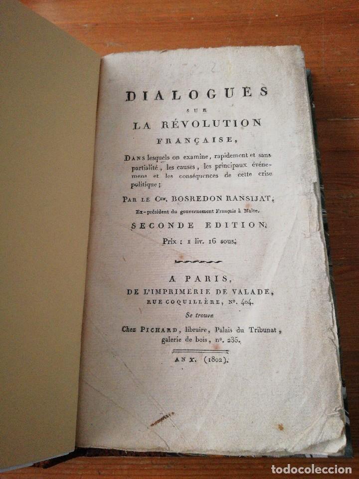 DIALOGUE SUR LA REVOLUTION FRANCAISE. BOSREDON RANSIJAT. 1802. (Libros antiguos (hasta 1936), raros y curiosos - Historia Moderna)