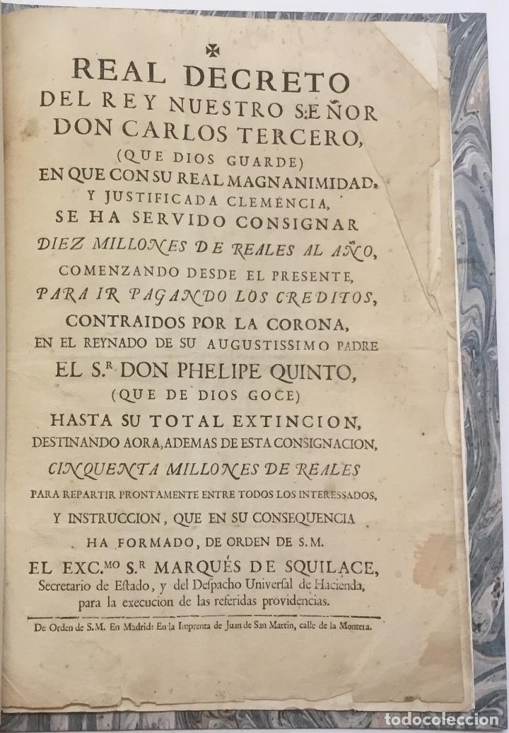 REAL DECRETO DEL REY NUESTRO SEÑOR DON CARLOS TERCERO (...) EN QUE (...) SE HA SERVIDO CONSIGNAR DIE (Libros antiguos (hasta 1936), raros y curiosos - Historia Moderna)