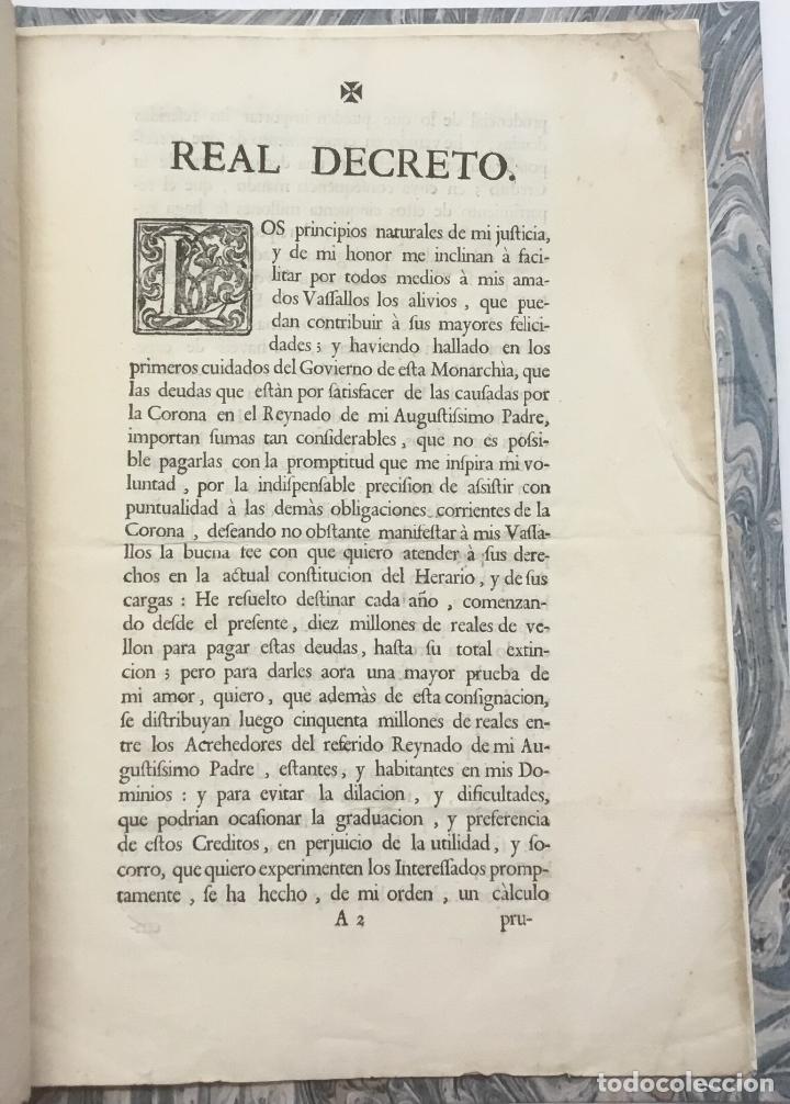 Libros antiguos: REAL DECRETO DEL REY NUESTRO SEÑOR DON CARLOS TERCERO (...) en que (...) se ha servido consignar die - Foto 2 - 123269142