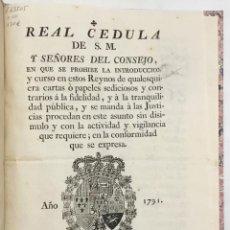 Alte Bücher - REAL CEDULA DE S.M. y señores del Consejo, en que SE PROHIBE LA INTRODUCCION Y CURSO EN ESTOS REYNO - 123150084