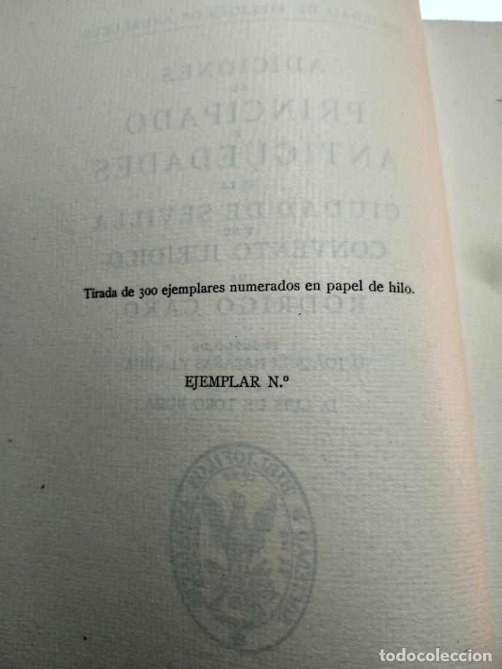 Libros antiguos: ADICIONES AL PRINCIPADO Y ANTIGÜEDADES DE LA CIUDAD DE SEVILLA - RODRIGO CARO - SEVILLA - 1932 - - Foto 3 - 140921986