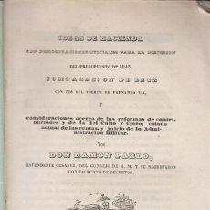 Libros antiguos: RAMÓN PARDO: IMPUGNACIÓN DE LOS PRESUPUESTOS DE 1843. MADRID, 1843.. Lote 143546014