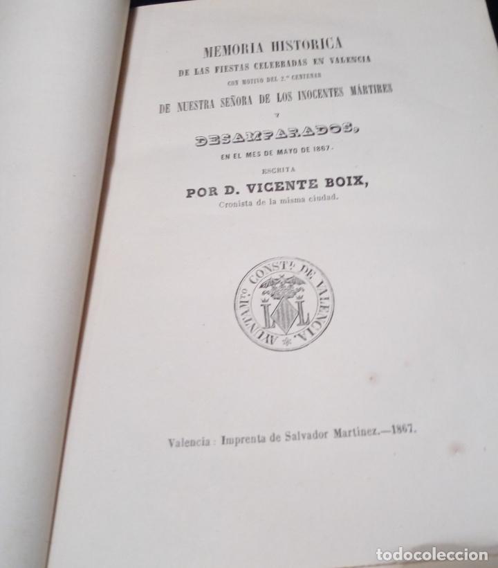 Libros antiguos: VICENTE BOIX. LIBRO MEMORIA HISTÓRICA FIESTAS EN VALENCIA-2º CENTENARIO NTRA.SRA. DESAMPARADOS 1867 - Foto 5 - 144114458