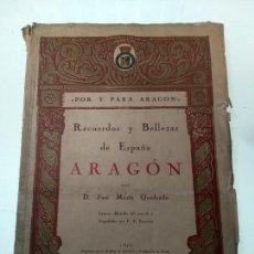 Libros antiguos: RECUERDOS Y BELLEZAS DE ESPAÑA - ARAGÓN - D. JOSE MARÍA QUADRADO - LITOGRAFÍAS POR F.S. PARCERISA -. Lote 144473430