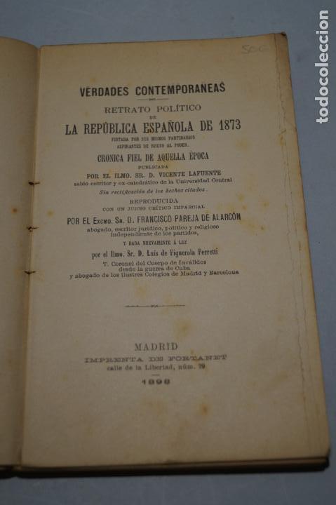 Libros antiguos: RETRATO POLITICO DE LA REPUBLICA ESPAÑOLA DE 1873. VICENTE LAFUENTE. 1898 - Foto 2 - 266833119