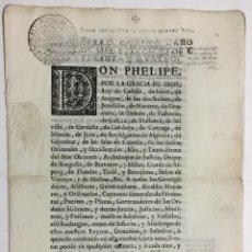 Libros antiguos: DON PHELIPE, POR LA GRACIA DE DIOS REY DE CASTILLA. PROHIBICION ENTRADA DE VINOS Y AGUARDIENTES...... Lote 145617198