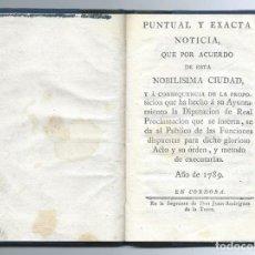 Libros antiguos: DOCUMENTO ORIGINAL: ACUERDO DEL AYUNTAMIENTO DE CÓRDOBA DE 22 DE AGOSTO DE 1789.. Lote 147494106
