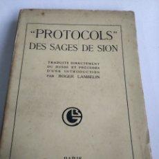 Livros antigos: PROTOCOLS DES SAGES DE SION. PARIS 1925. EDICION 33°. INTONSO.. Lote 287622588