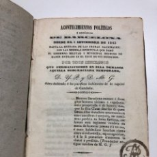 Libros antiguos: IGNACIO PUSALGAS. ACONTECIMIENTOS POLÍTICOS E HISTÓRICOS DE BARCELONA...1843. Lote 150220998