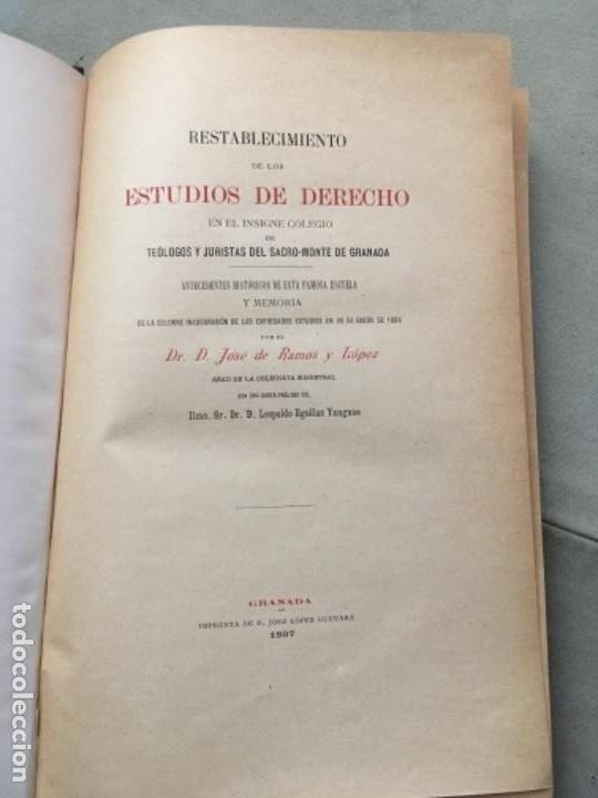 Libros antiguos: MEMORIA ACERCA DEL RESTABLECIMIENTO DE LOS ESTUDIOS DE DERECHO EN EL SACRO-MONTE DE GRANADA. - Foto 3 - 153530810