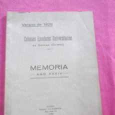 Libros antiguos: COLONIAS ESCOLARES UNIVERSITARIAS DE SALINAS VERANO DE 1928 ASTURIAS. Lote 155105858
