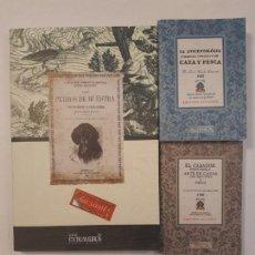 Libros antiguos: 3 LIBROS FACSÍMILES RELATIVOS A LA CAZA. PERROS DE MUESTRA CACERÍA PESCA ESCOPETAS CAZADORES. Lote 218160048