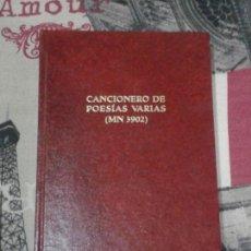 Libros antiguos: CANCIONERO DE POESÍAS VARIAS. MN 3902. DIFRANCO. LABRADOR. 1989. 300 EJEMPLARES.. Lote 155869988