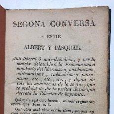 Libros antiguos: TOMÁS BOU. SEGONA CONVERSA ENTRE ALBERT Y PASQUAL. 1822. Lote 156208922