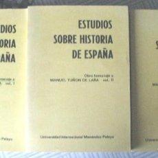 Libros antiguos: ESTUDIOS SOBRE HISTORIA DE ESPAÑA ( HOMENAJE A TUÑON DE LARA ) 3 VOLUMENES (MADRID, 1981). Lote 159936582