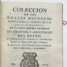 Libros antiguos: COLECCION DE LOS REALES DECRETOS, INSTRUCCIONES, Y ORDENES DE S. M. PARA EL ESTABLECIMIENTO DE LA CO. Lote 114797623