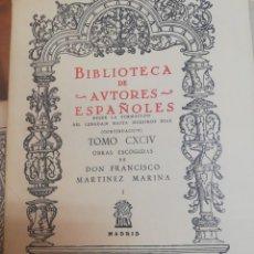 Libros antiguos: OBRAS ESCOGIDAS DON FRANCISCO MARTINEZ MARINA. T. I. . Lote 163749726
