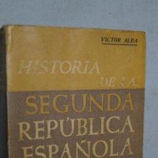 Libros antiguos: HISTORIA DE LA SEGUNDA REPÚBLICA ESPAÑOLA. VICTOR ALBA. . Lote 166119158