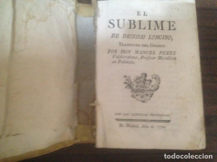 Libros antiguos: ANTIGUO LIBRO EL SUBLIME DE DIONISIO LONGINO DON MANUEL PEREZ MADRID 1770 - Foto 2 - 166166070