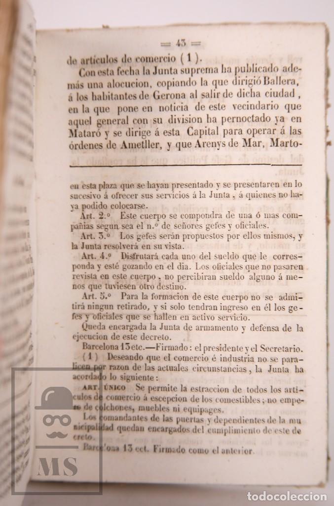 Libros antiguos: Antiguo Libro Revolución de Barcelona. Acontecimientos Septiembre 1843 - Manuel Saurí, 1844 - Foto 4 - 168575296