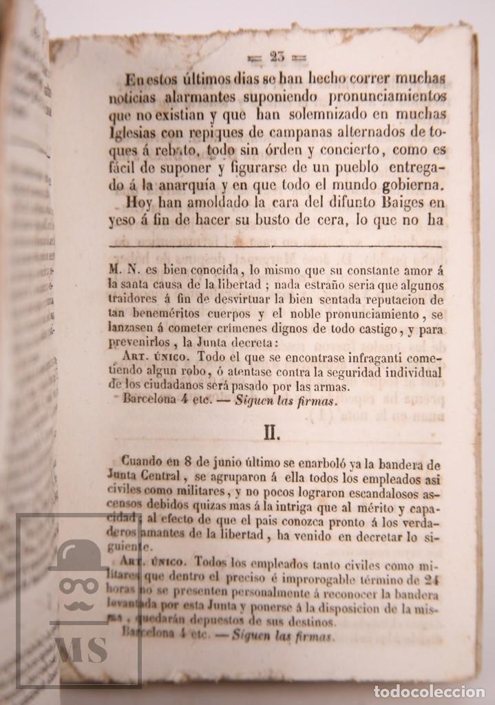 Libros antiguos: Antiguo Libro Revolución de Barcelona. Acontecimientos Septiembre 1843 - Manuel Saurí, 1844 - Foto 5 - 168575296