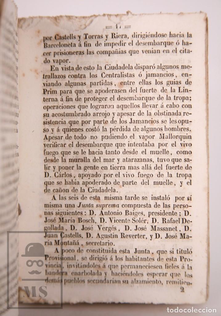 Libros antiguos: Antiguo Libro Revolución de Barcelona. Acontecimientos Septiembre 1843 - Manuel Saurí, 1844 - Foto 6 - 168575296