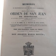 Libros antiguos: MEMORIA HECHOS ORDEN SAN JUAN DE JERUSALÉN MALTA PARDO DE TERÁN 1853. Lote 173954999
