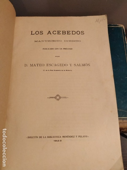 Libros antiguos: SANTANDER 1928 - GENEALOGIA - LOS ACEBEDOS - MANUSCRITO INÉDITO POR MATEO ESCAGEDO SALMON - - Foto 3 - 175056754