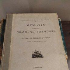 Libros antiguos: MEMORIA OBRAS DEL PUERTO DE SANTANDER 1921 - JUNTA DE LAS OBRAS DEL PUERTO SANTANDER . Lote 175059412