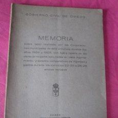 Libros antiguos: GOBIERNO CIVIL DE OVIEDO MEMORIA 1926 OBRAS PRINCIPALES ASTURIAS. Lote 155104962