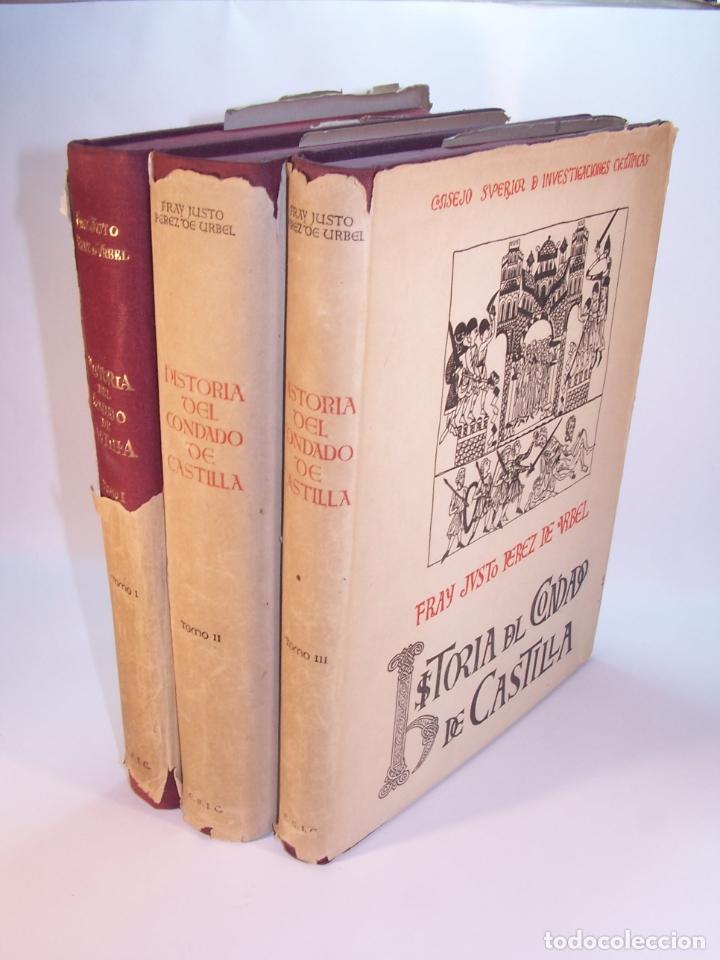 HISTORIA DEL CONDADO DE CASTILLA. FRAY JUSTO PÉREZ DE URBEL. FIRMADO Y DEDICADO. 3 TOMOS. 1944. (Libros antiguos (hasta 1936), raros y curiosos - Historia Moderna)
