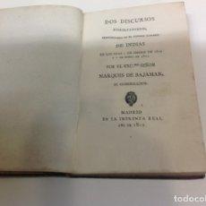 Libros antiguos: DOS DISCURSOS EXHORTATORIOS PRONUNCIADOS EN EL CONSEJO SUPREMO DE INDIAS. Lote 179025033