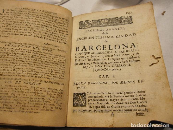 Libros antiguos: ROCABERTI, Joseph. CARLOS II. LAGRIMAS AMANTES DE LA EXCELENTISSIMA CIUDAD DE BARCELONA, 1701 - Foto 3 - 182082126