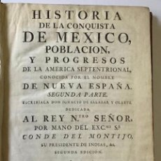 Libros antiguos: HISTORIA DE LA CONQUISTA DE MEXICO. POBLACION Y PROGRESOS DE LA AMERICA SEPTENTRIONAL CONOCIDA CON E. Lote 123243422