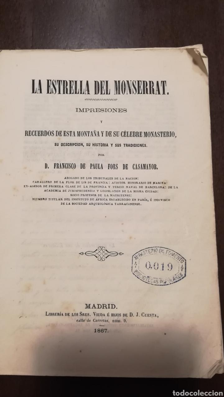 Libros antiguos: La Estrella del Montserrat. Libro de 1867. - Foto 2 - 190996666