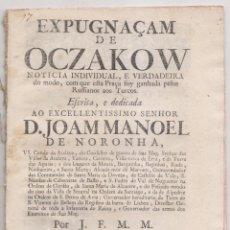 Libros antiguos: TOMA DE LA PLAZA DE OCZAKOW POR LOS RUSOS A LOS TURCOS. LISBOA, 1737. EN PORTUGUÉS. Lote 194340627