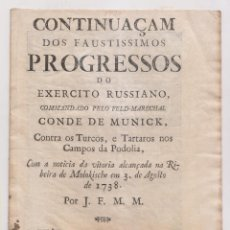 Libros antiguos: PROGRESOS DEL EJÉRCITO RUSO CONTRA TURCOS Y TÁRTAROS EN PODOLIA. LISBOA 1738. EN PORTUGUÉS. Lote 194341622