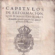 Libros antiguos: CONDE-DUQUE DE OLIVARES: CAPÍTULOS DE REFORMACIÓN. 1623. RARÍSIMA CONTRA EL LUJO. MODA. COSTUMBRES. Lote 194564181