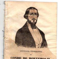 Libros antiguos: HISTORIA BIOGRAFICA DEL CONDE DE MONTEMOLIN, APELLIDADO CARLOS VI POR SUS PARTIDARIOS. 1849. Lote 194760870
