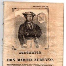 Libros antiguos: BIOGRAFIA DE DON MARTIN ZURBANO. REGENCIA DE ESPARTERO. 1847. Lote 194763222
