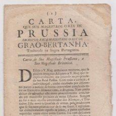 Libros antiguos: CARTA DEL REY DE PRUSIA AL REY DE LA GRAN BRETAÑA. LISBOA, 1758. EN PORTUGUÉS. Lote 195043127
