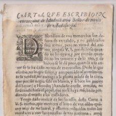 Libros antiguos: CARTA DE UN CORTESANO DE MADRID A UN SEÑOR DE ANDALUCÍA. 1641. A FAVOR DE CATALUÑA, CONTRA OLIVARES. Lote 195048566