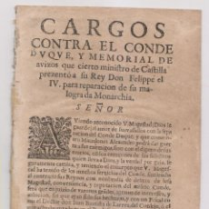 Libros antiguos: CARGOS CONTRA EL CONDE DUQUE DE OLIVARES Y MEMORIAL DE AVISOS. LISBOA, 1644. MUY RARO.. Lote 195049460