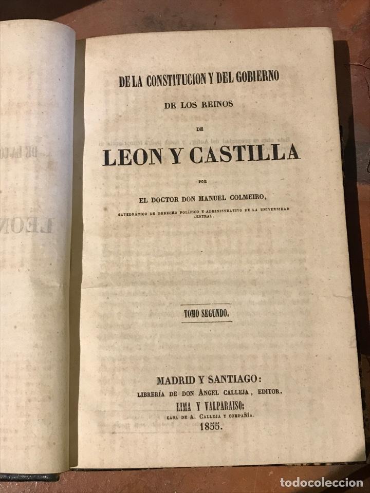 Libros antiguos: De la Constitución y del gobierno de los reinos de Castilla y León por don Manuel Colmeiro - Foto 2 - 198093917